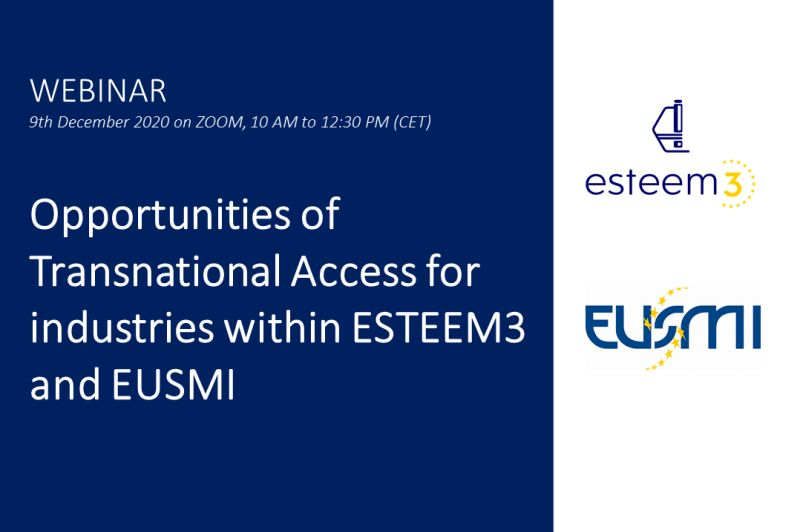 Webinar: Transnational Access within the projects ESTEEM3, EUSMI and TEESMAT
