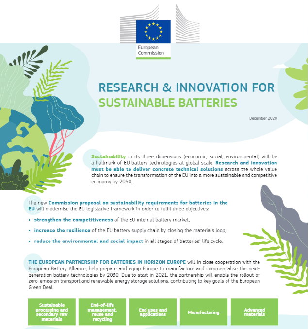 Research & innovation for sustainable batteries
